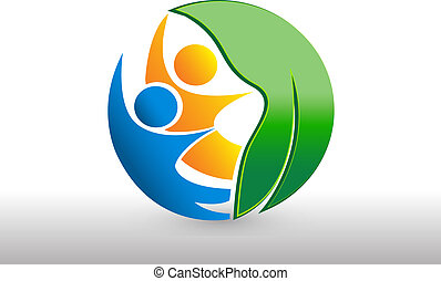 Logo health nature leaf team people
