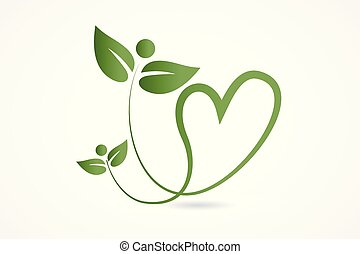 Logo health nature love heart leafs