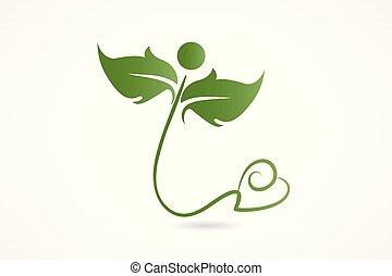 Logo health nature love heart leafs