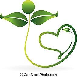Logo healthy green leafs love heart