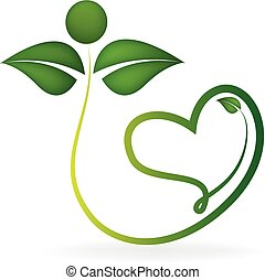 Logo healthy leafs with heart shape - Healthy green leafs...