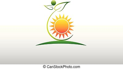 Logo healthy nature green leafs and sun