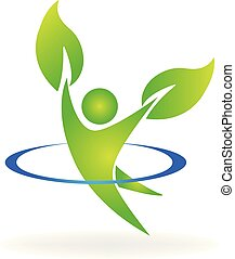 Logo healthy nature man in a happy life style