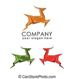 logo, hertje, mal, ontwerp, plat