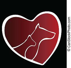 logo, herz, silhouette, hund, katz