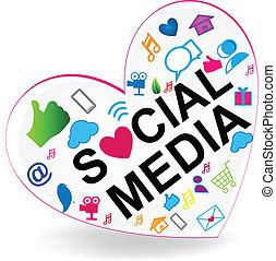 logo, herz, vektor, sozial, medien
