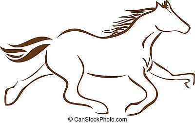 logo, hest, vektor, racing, aktie