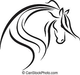 logo, hest, vektor, silhuet