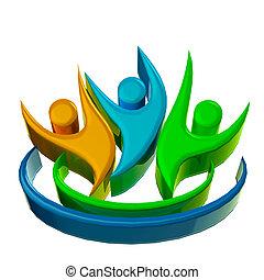 logo, heureux, collaboration, 3d