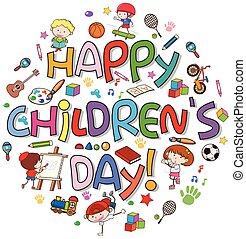 logo, heureux, enfants, jour