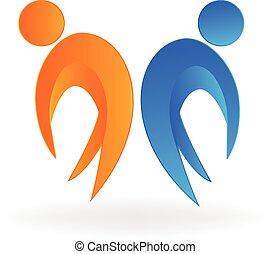 logo, heureux, partenaires