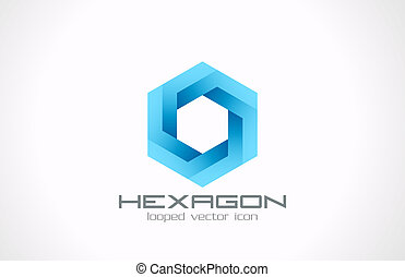 Hexagon looped vector logo design template. Business, Technology and Science theme. Creative icon.