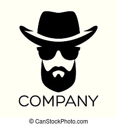 logo, hipster, homme