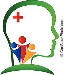 logo, hjärna, wellness