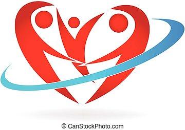 logo, hjärta, familj