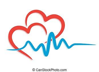 logo, hjärta, pulse.
