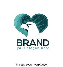 logo, hjärta, vektor, örn