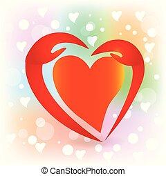 logo, hjärta, vektor, räcker