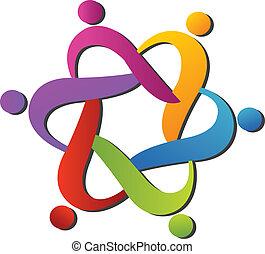 logo, hjælper, hold