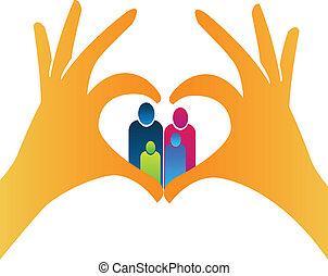 logo, hjerte form, familie, hænder