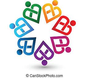 logo, hjertelig, teamwork