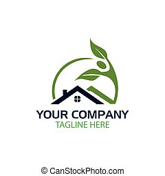 logo home with a plant-style person