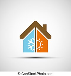 Logo home with climate control.