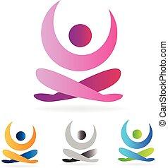 logo, homme yoga