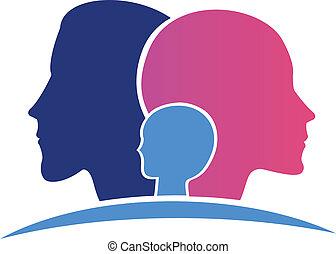 logo, hoofden, gezin