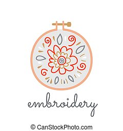 Logo hoop with embroidered flowers in a flat style on a white background. Vector isolated knitting symbol for a shop with embroidery, embroidery courses, floss, machine embroidery, cross-stitch.