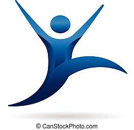 logo, hoppning, folk, fitness