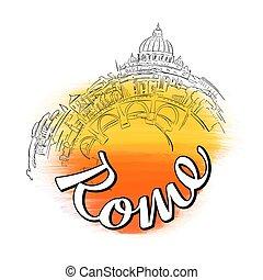 logo, horisont, rom, resa