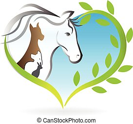 Logo horse, dog ,cat and rabbit heart love silhouettes