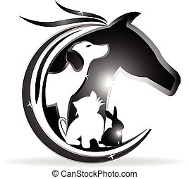 Logo horse, dog, cat and rabbit