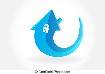 Logo house arrow symbol vector