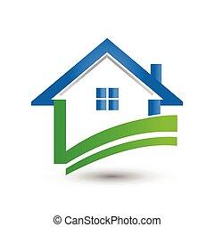 Logo house check green icon vector