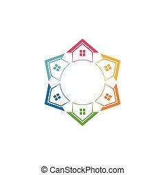 logo., housesin, 家, 色, 郊外, 財産, 様々, 実質