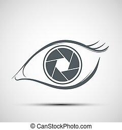 Logo human eye in the form of lens. Aperture shutters. Stock vec