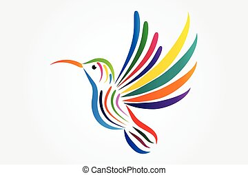 Logo hummingbird icon vector