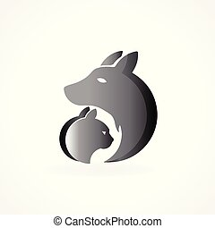 logo, hund, kat