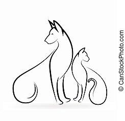 logo, hund, katz
