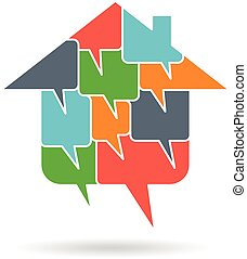 logo, hus, dialog