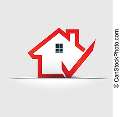 logo, hus, konstruktion, check, element