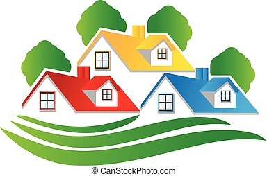 logo, hus, verkligt gods
