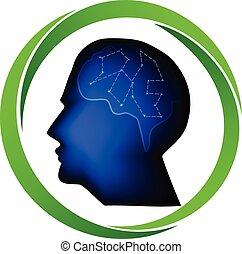 logo, huvud, man
