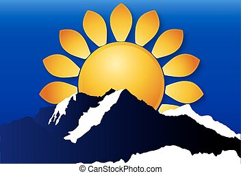 logo, i, den, sol, hen, den, bjerge