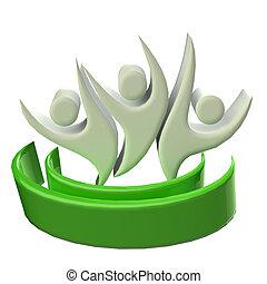 logo, icône, collaboration, 3d, gens