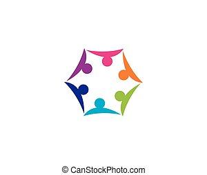 logo, icône, communauté, vecteur