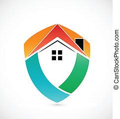 logo, icône, maison