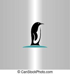 logo, icône, vecteur, glace, manchots